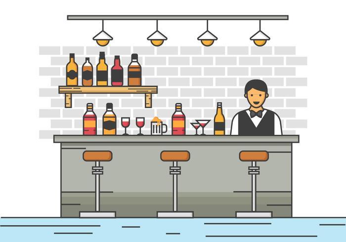 Free Barman Server an der Bar Vektor-Illustration vektor