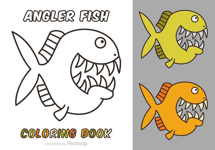 Free Cartoon Angler Fisch Vektor Malbuch