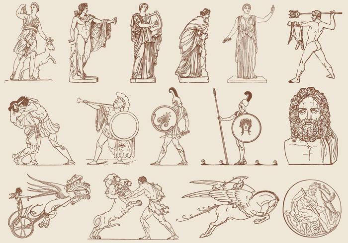 Bruna grekiska konstillustrationer vektor