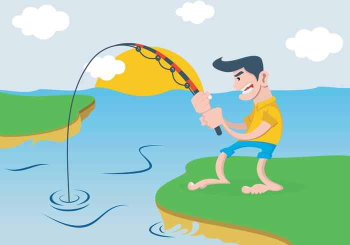 En man som fiskar i floden vektor
