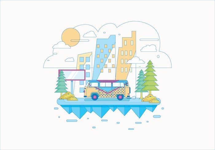 Hippie buss landskap vektor