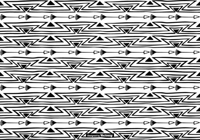 Handdragen Boho Style Pattern Bakgrund vektor