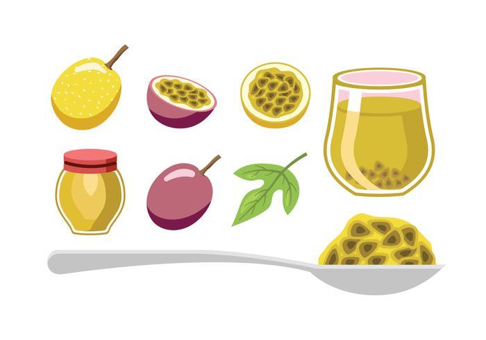 Passion frukt element vektorer