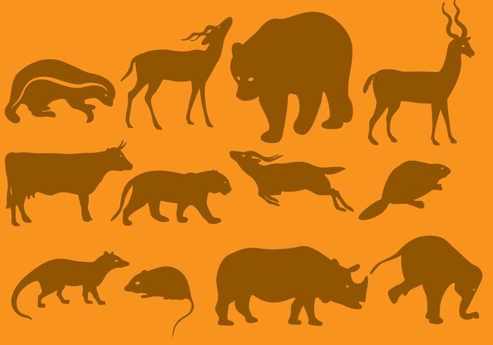Orange Wildtier Silhouetten vektor