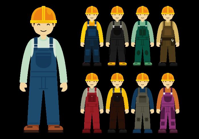 Byggnadsarbetare med overall vektor