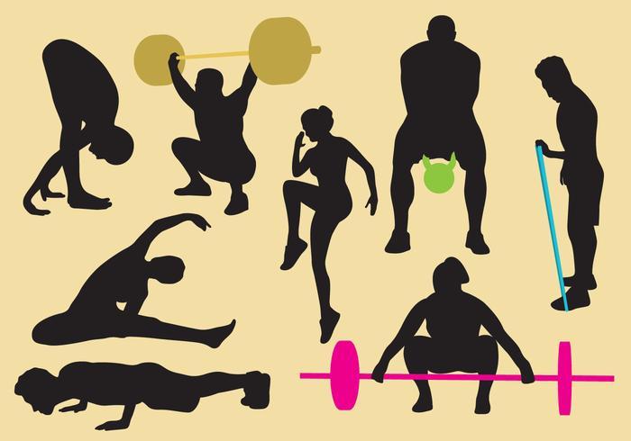 Träning och gym silhuetter vektor