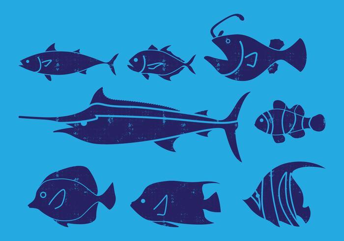 Havsfiskikon vektor
