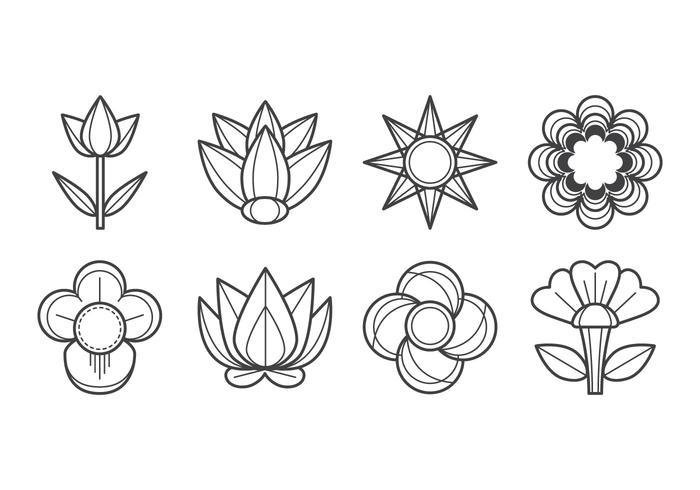 Freier Blumen-Ikonen-Vektor vektor