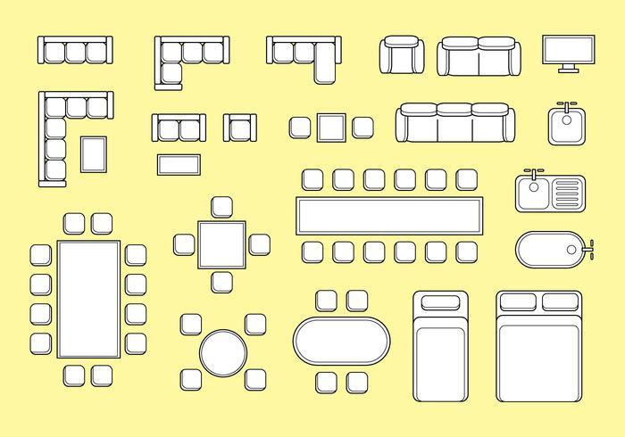 Free Floorplan Möbel Vektor
