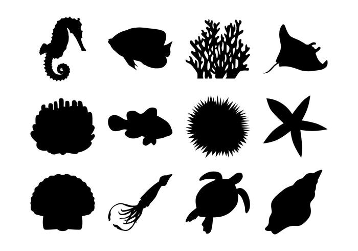 Gratis Sea Life Silhouettes Vector