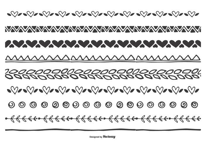 Nettes Handgezeichnetes Herz-Blatt-Grenzsatz vektor