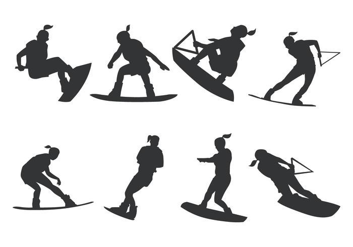 Kvinnor Wakeboarding Silhouette vektor