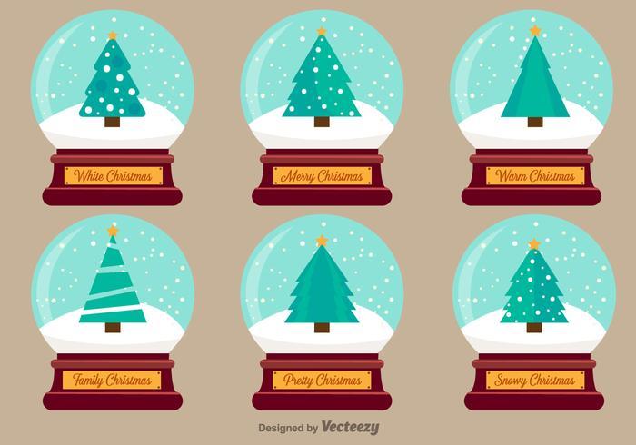 Jul Snow Ball Vector Illustrationer
