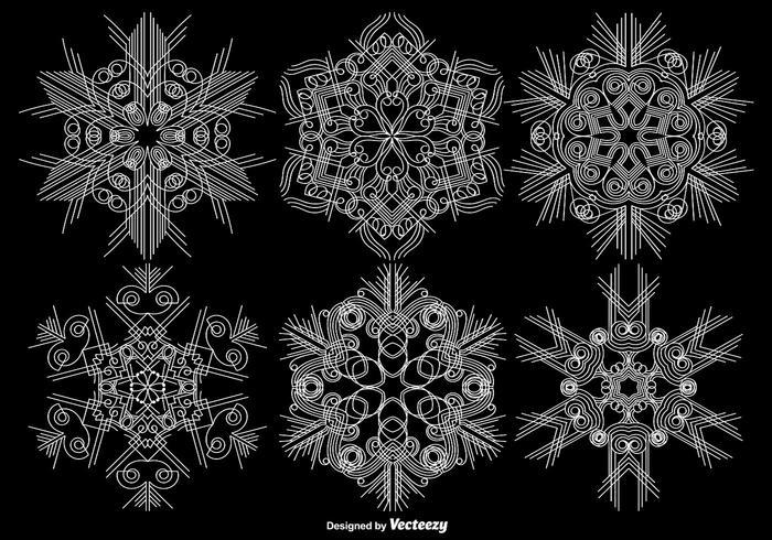 Vektor Set Of Ornamental Snowflakes