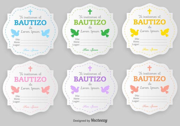 Bautizo Vector Inbjudningar Blank Mall