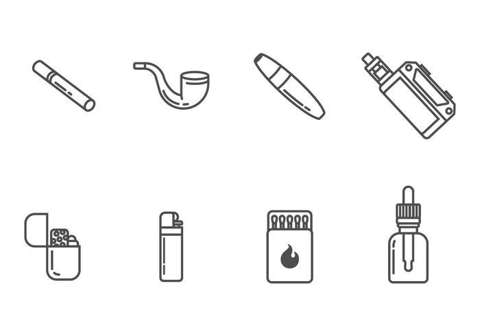 Rökning och cigarettikoner vektor
