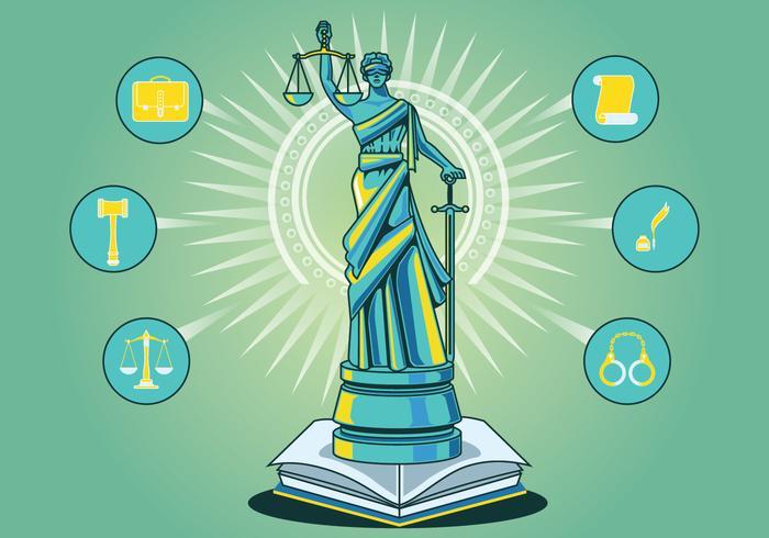 Statue der Gerechtigkeit Vektor Hintergrund
