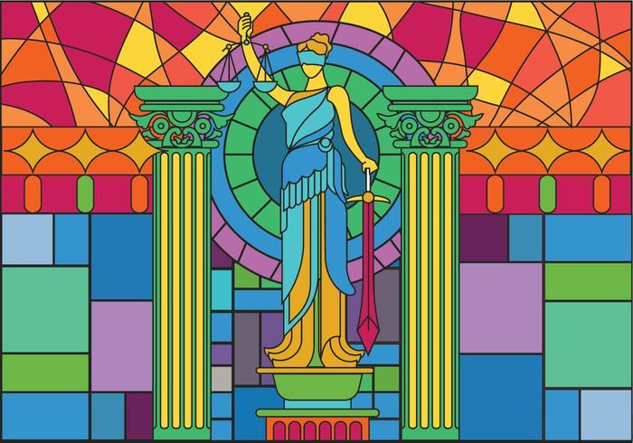 Staty of Justice Glasmålning Illustration Vektor