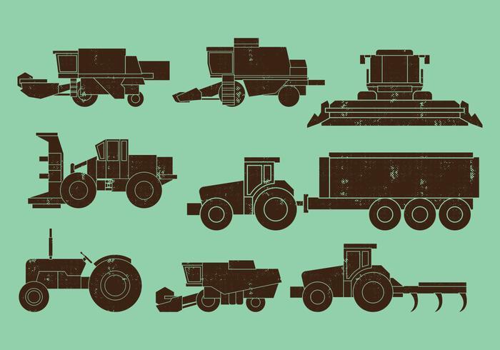 Landwirtschaftliche Maschinen Traktoren Kombinieren Icons vektor