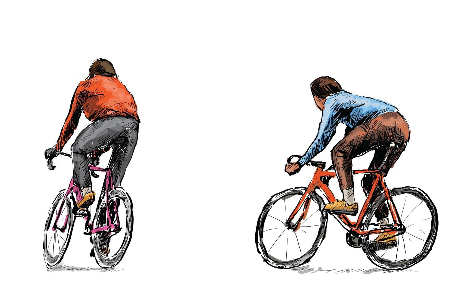 Skizze von Radfahrern, die Fahrräder mit festem Gang fahren vektor