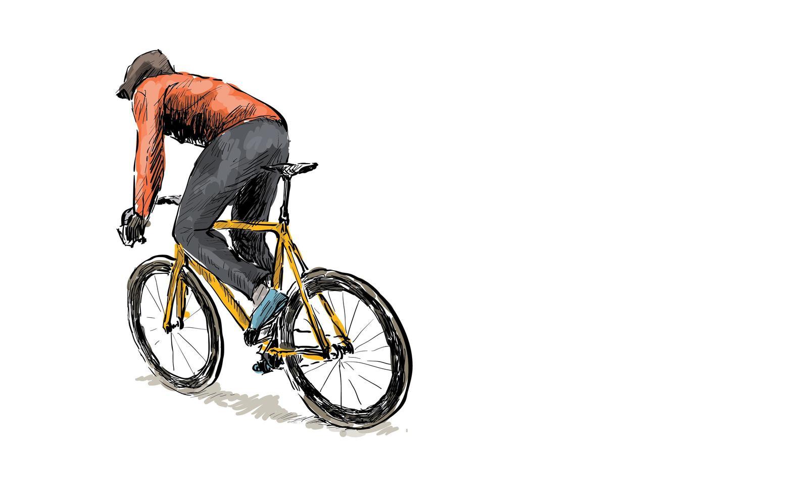 Skizze eines Radfahrers, der ein Fahrrad mit festem Gang fährt vektor