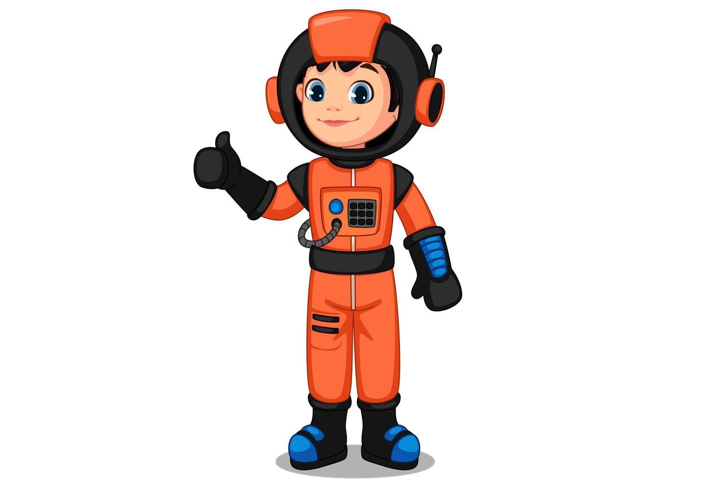 niedliches kleines Astronautenkind, das Daumen zeigt vektor