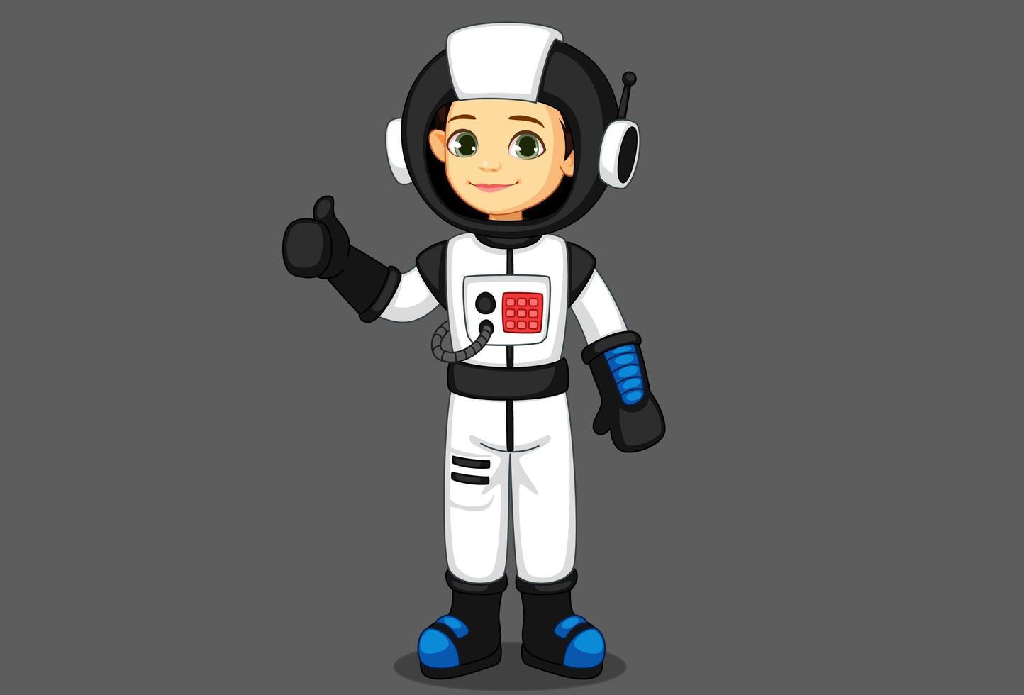 süßes kleines Astronautenmädchen, das Daumen zeigt vektor