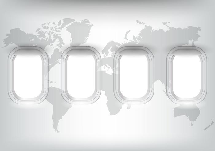 Flugzeug mit Weltkarte vektor