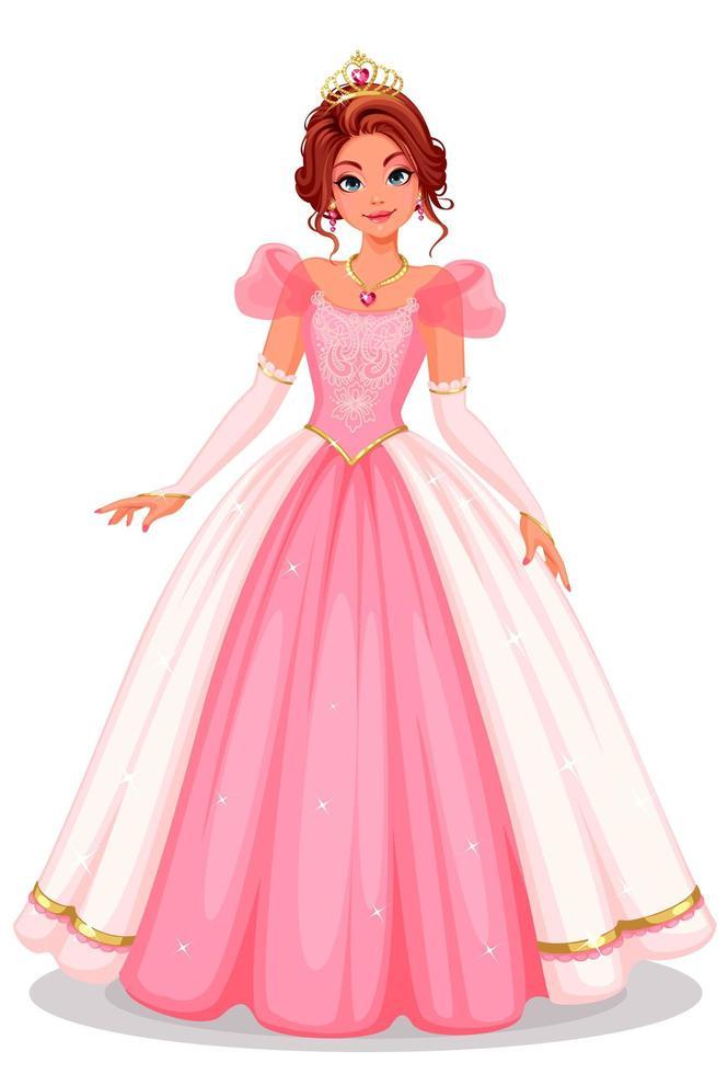 vacker prinsessa står i vacker lång rosa klänning vektor