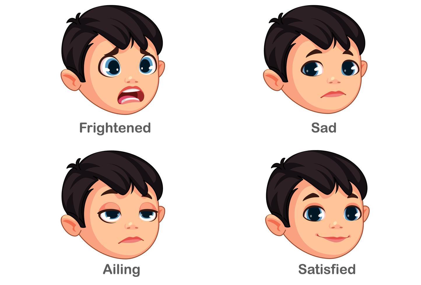 Junge mit unterschiedlichen Gesichtsausdrücken Teil 2 vektor