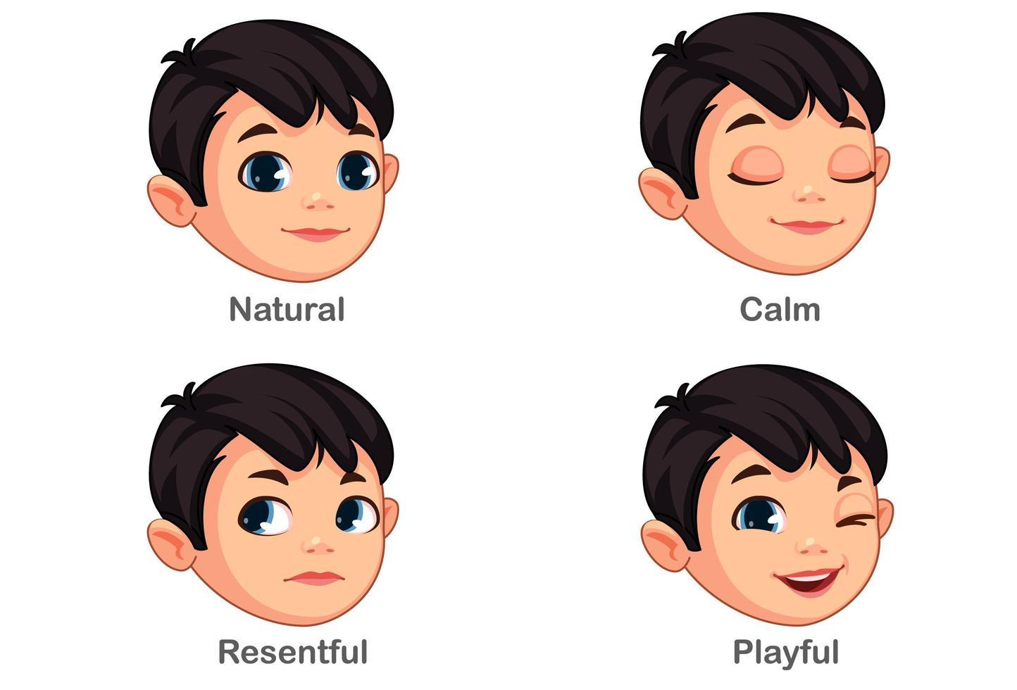 Junge mit unterschiedlichen Gesichtsausdrücken Teil 1 vektor