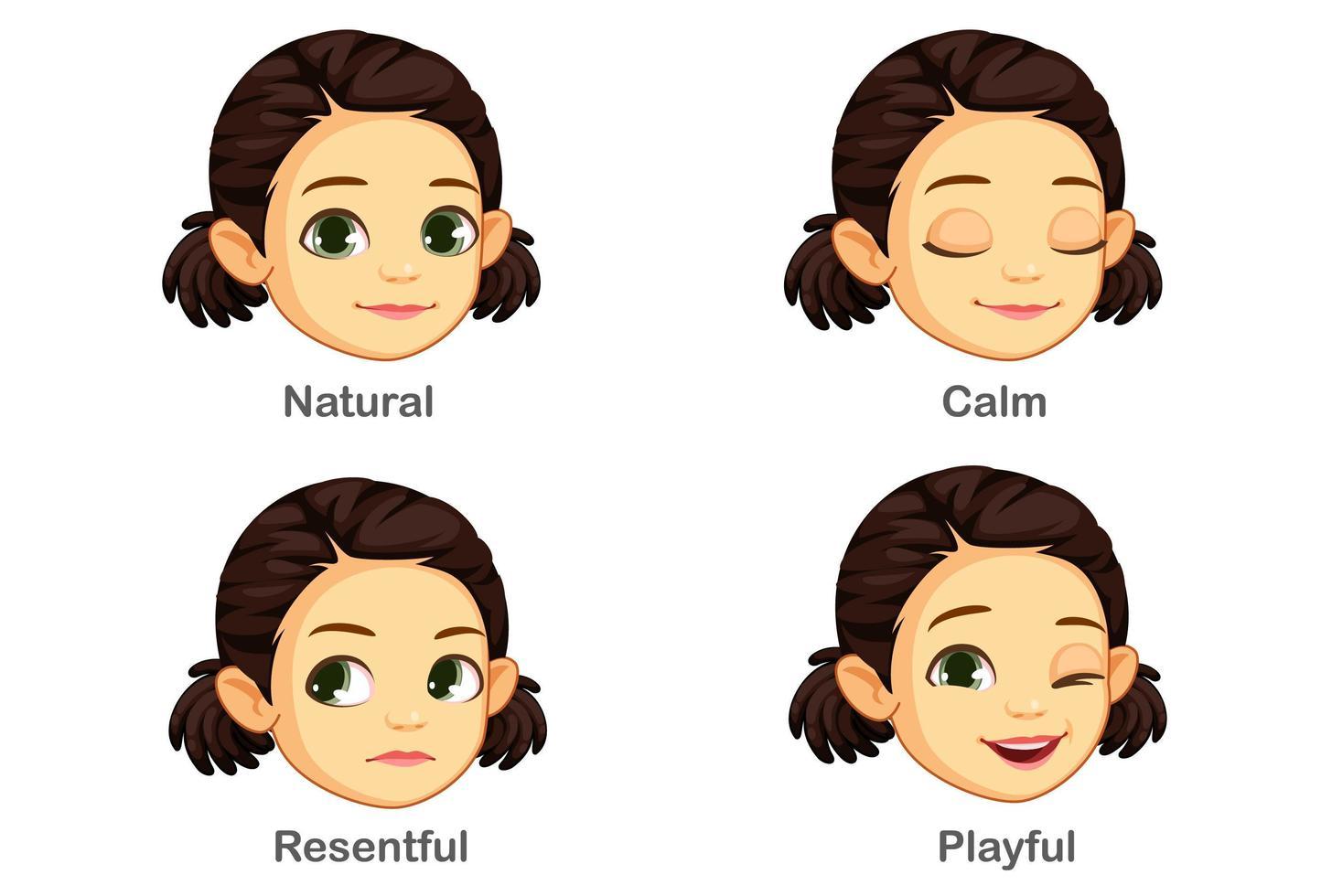 uppsättning flicka ansiktsuttryck vektor