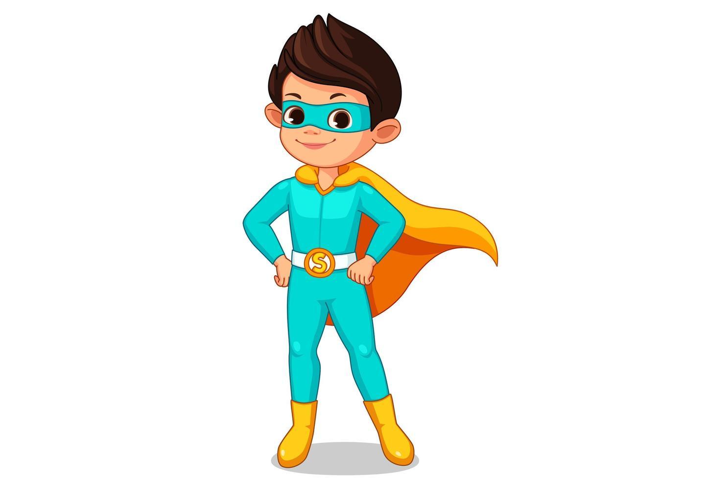 liten superhjälte unge tecknad vektor