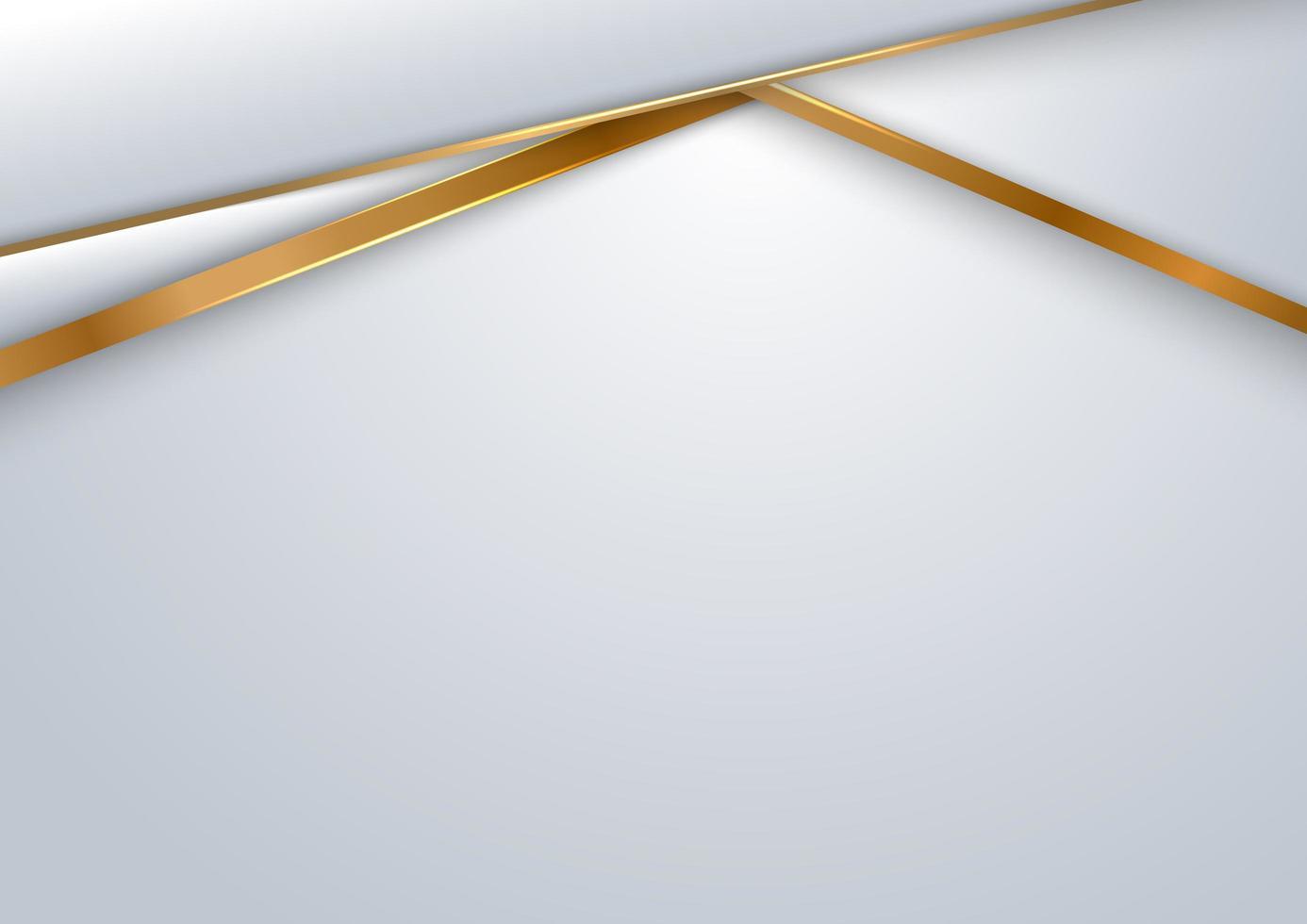 abstrakt vitt och grått med guld lyxig bakgrund vektor