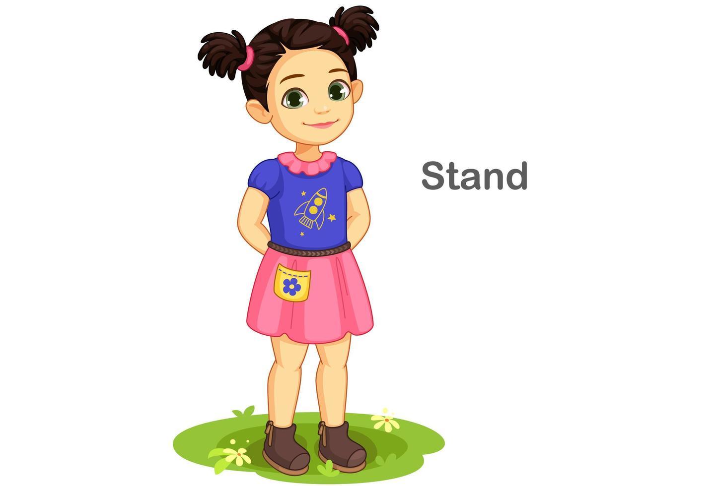 söt flicka i stående pose vektor