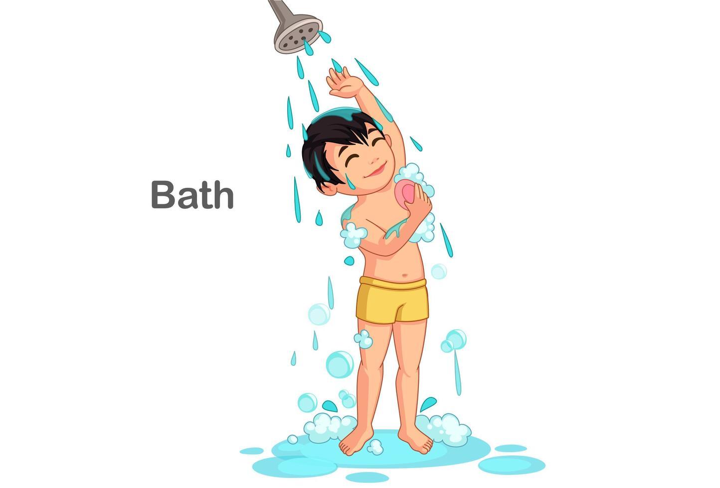 süßer Junge, der ein Bad nimmt vektor
