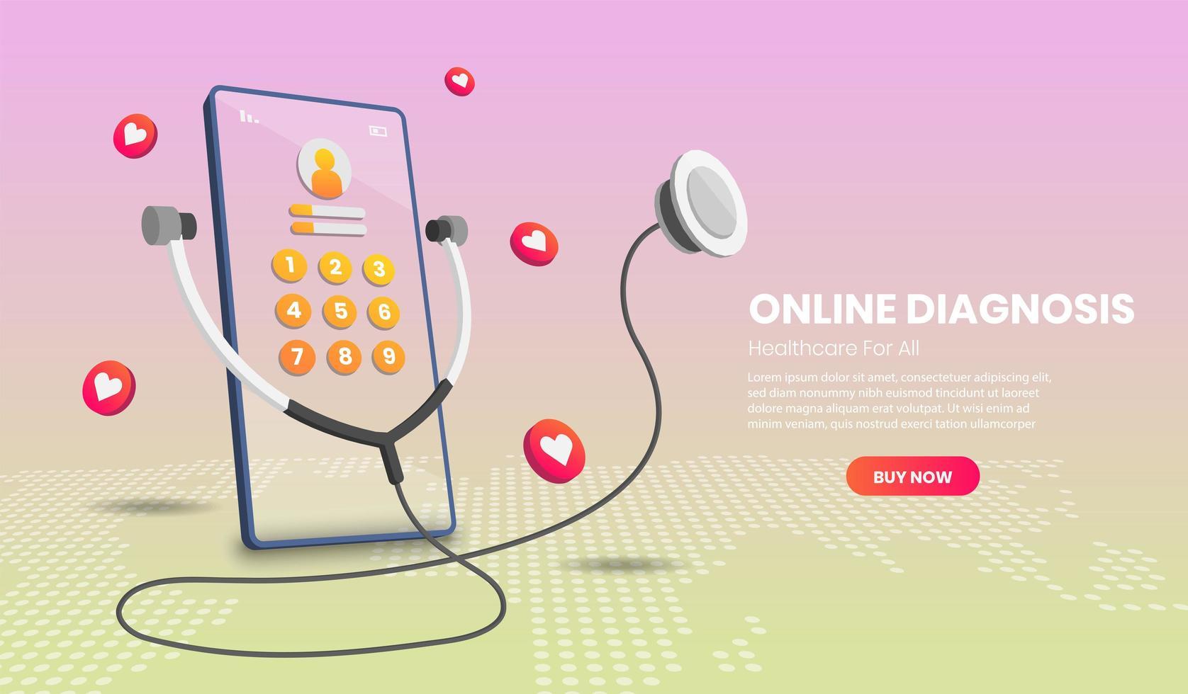 Online-Diagnose mit Telefon vektor