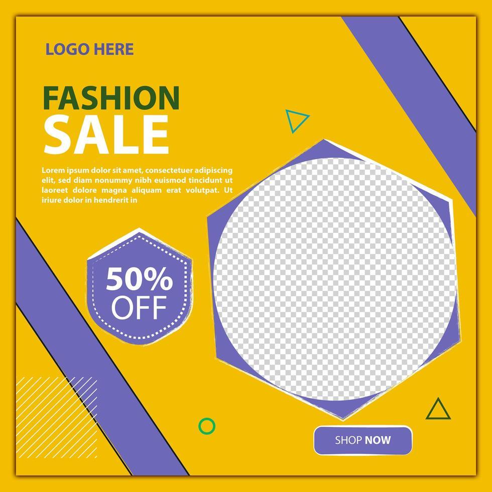 mode försäljning sociala medier post eller flygblad vektor