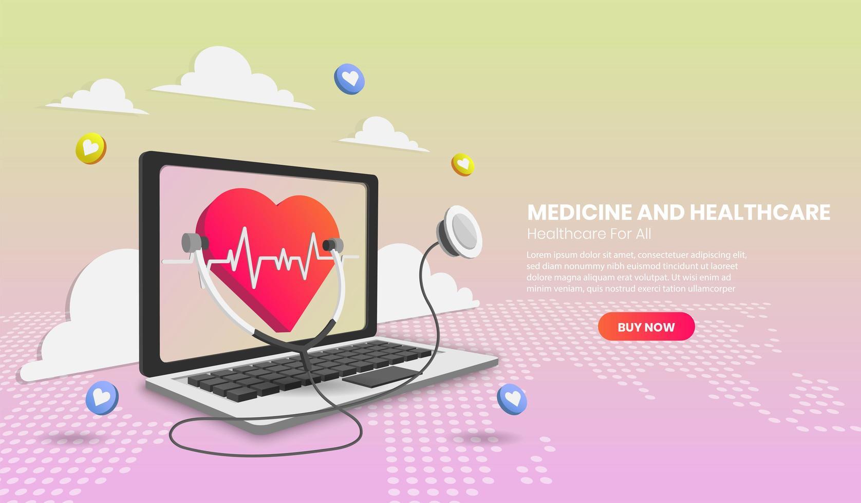 online medicinsk konsultation med bärbar dator och medicinsk app vektor
