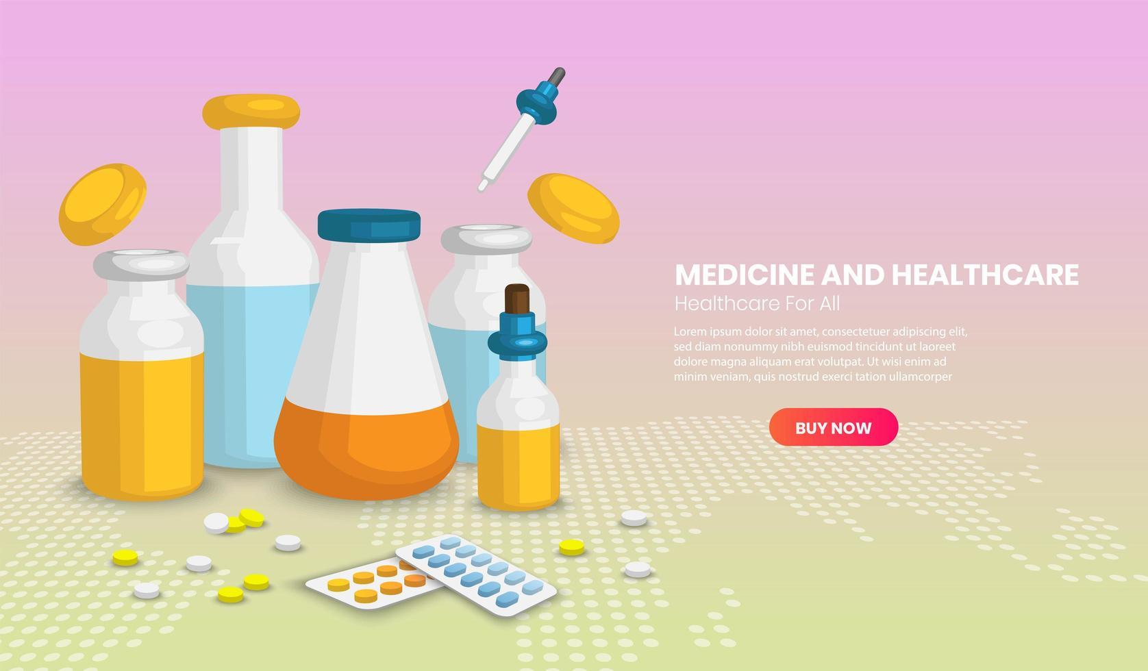 olika medicinska flaskor och piller vektor