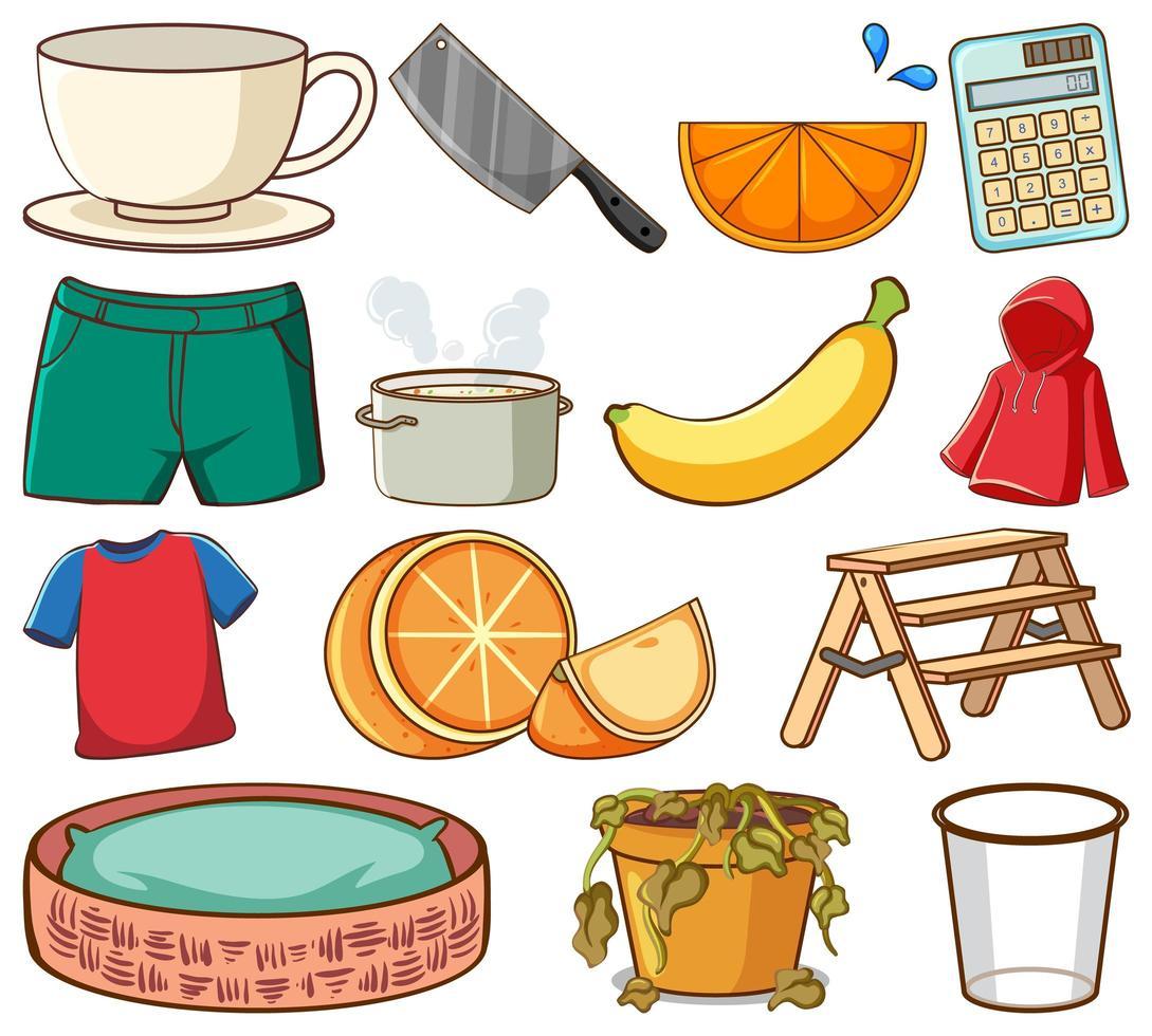 stor uppsättning olika livsmedel och andra föremål på vitt vektor