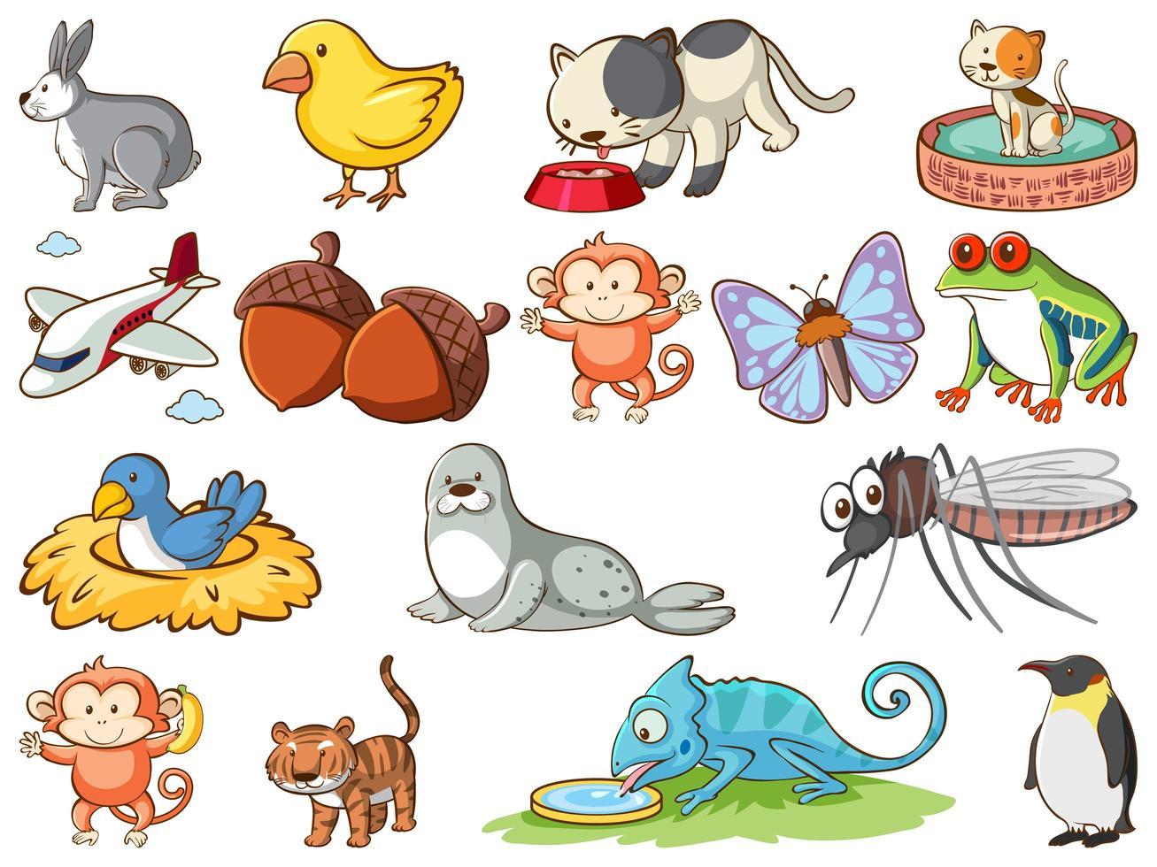 große Menge an Wildtieren mit vielen Arten von Tieren vektor