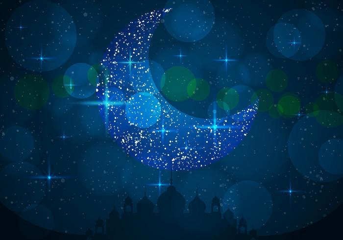 Silhouette der Moschee Mit Blauen Himmel Mit Beautifull Moon vektor