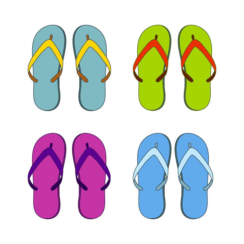 Hausschuhe Flip Flops, Set in verschiedenen Farben vektor