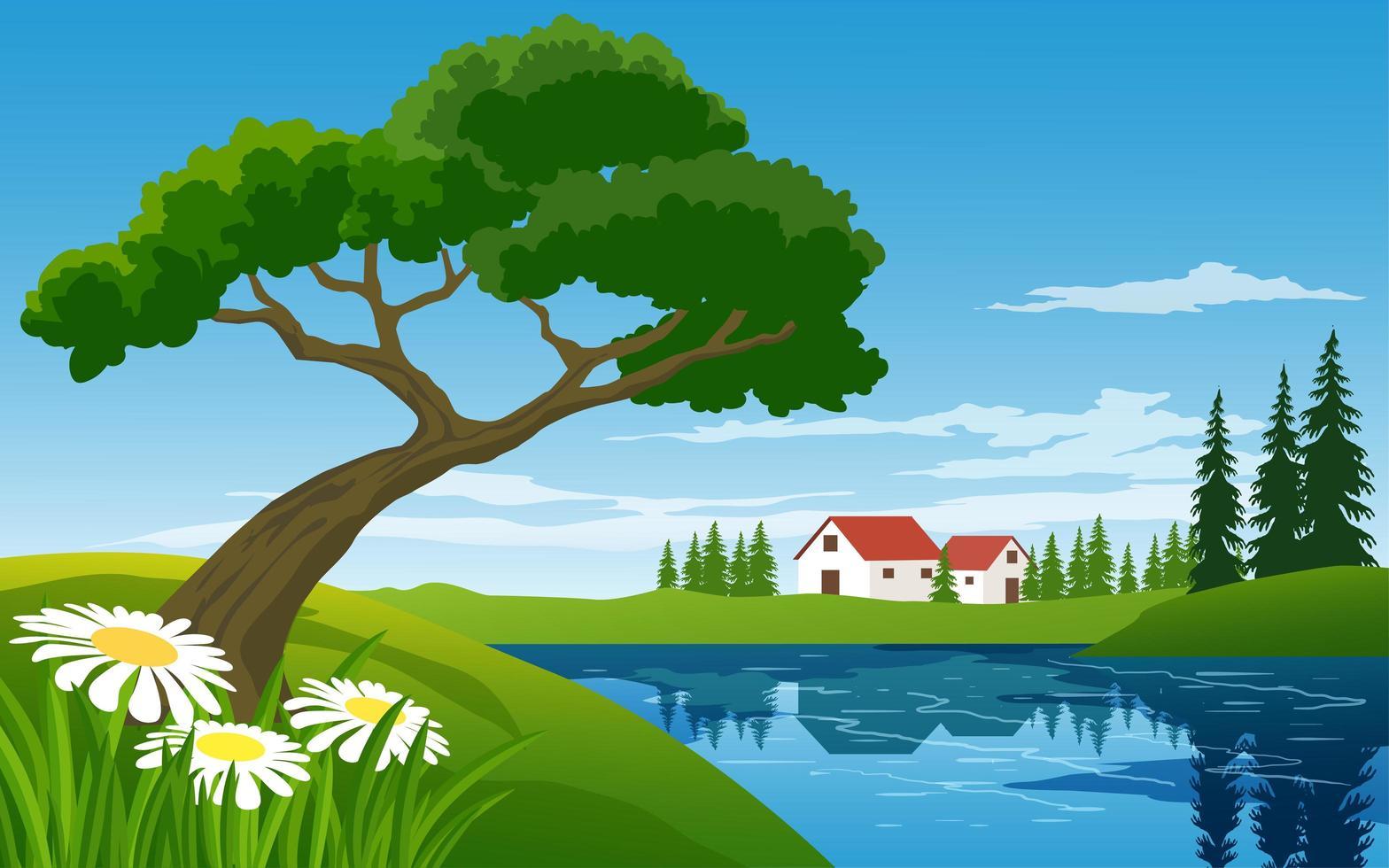 Landschaftsszene mit Bauernhof in der Nähe des Baches vektor