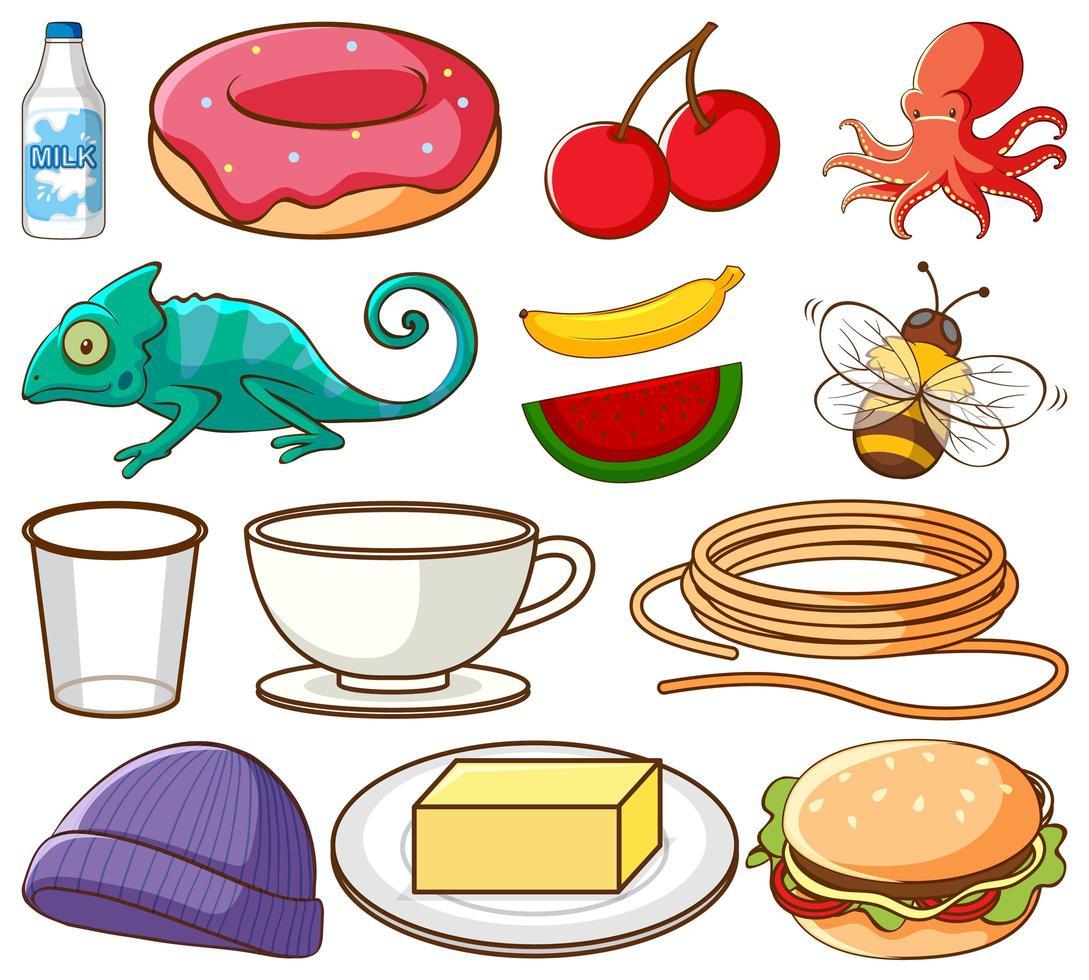 große Auswahl an verschiedenen Lebensmitteln und anderen Gegenständen auf Weiß vektor