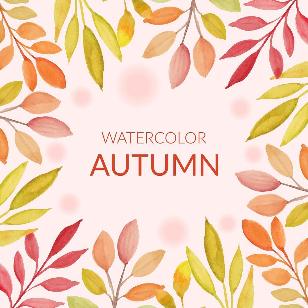 Herbstlaubrahmen im Aquarellstil vektor