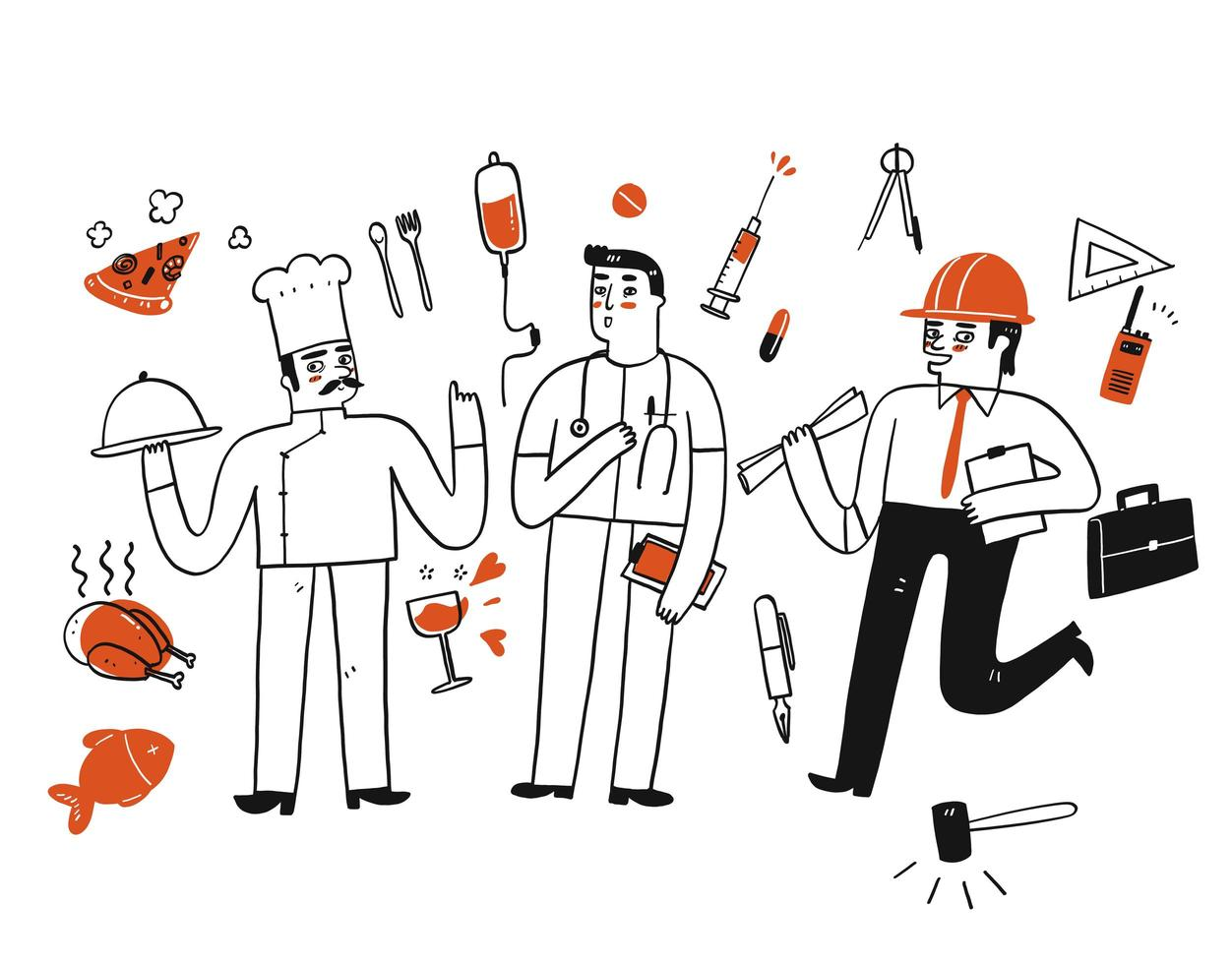 eine Gruppe von Arbeitern mit Symbolen vektor