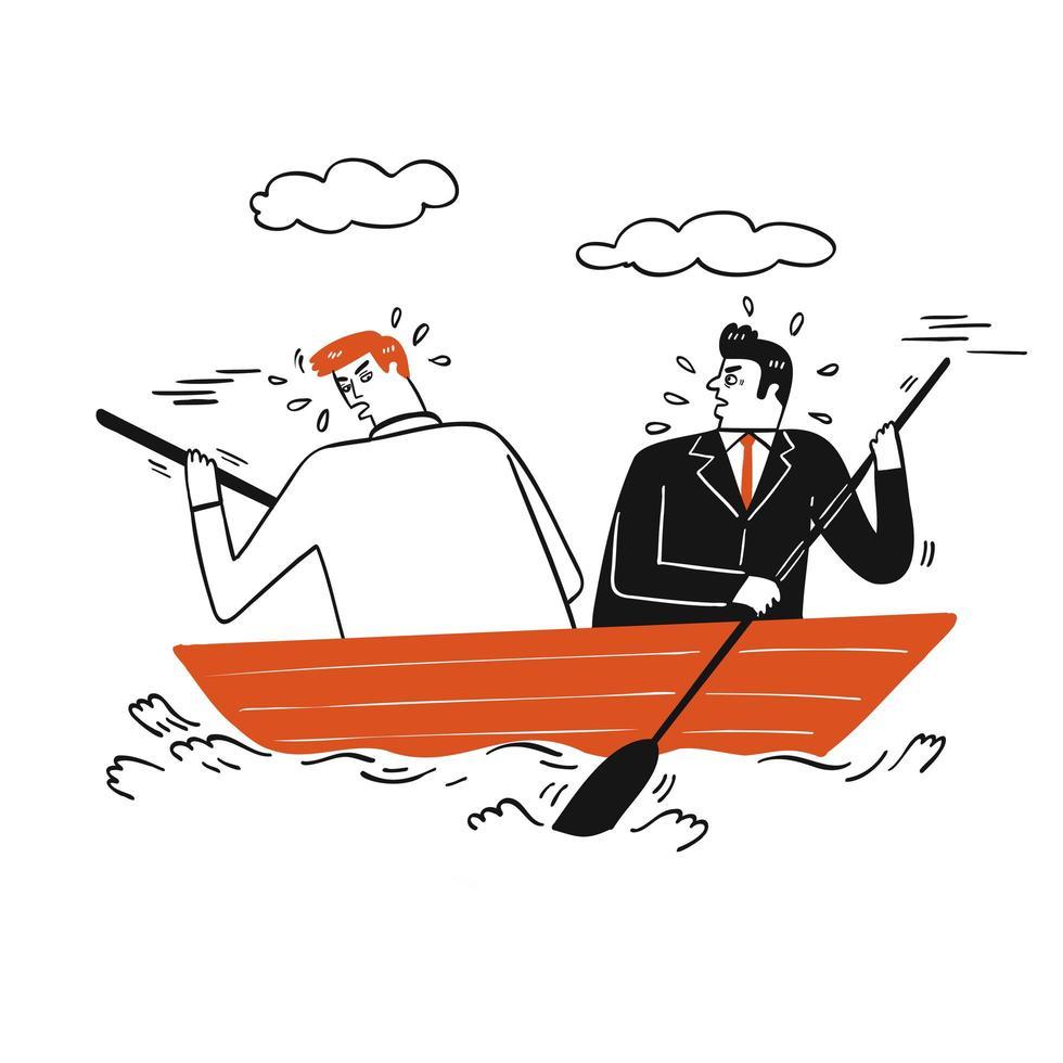 Geschäftsmann, der auf einem kleinen Boot argumentiert vektor
