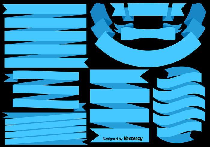 Vector Set Blaue Flaggen / Bänder